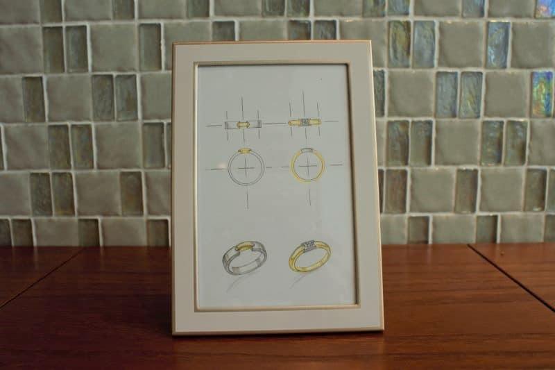 手作り結婚指輪オーダーメイドデザイン画